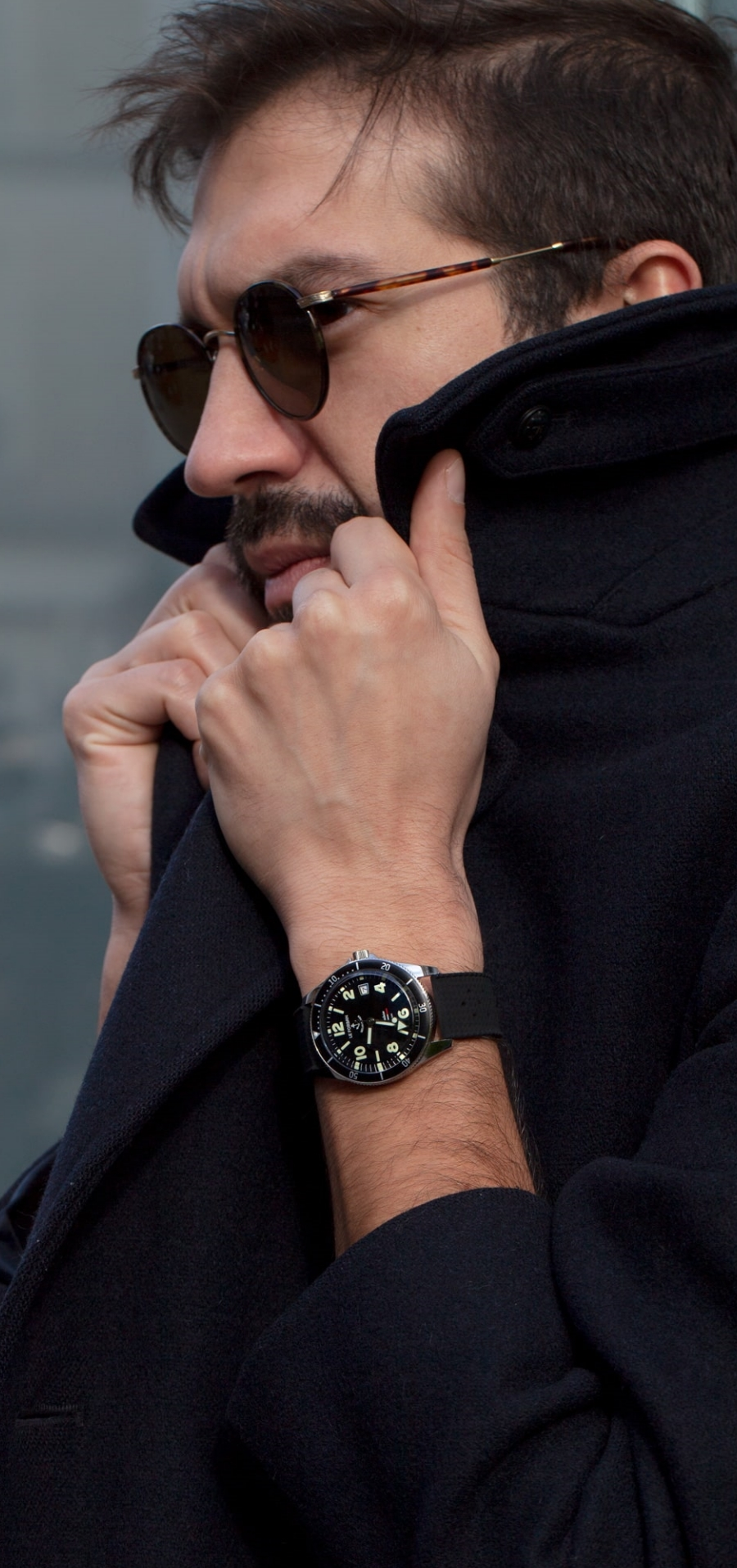 Focus of the watch on a wrist